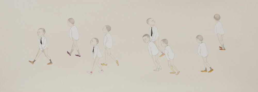 Walk Of Shame , 2011 Graphite, watercolor, ink on ivory Fabriana Rosaspina 13.5 x 39 inches Private collection Photo: Bill Orcutt