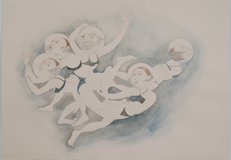 Water Bubbles , 2012 Graphite, watercolor, ink on ivory Fabriana Rosaspina 27 1/2 x 39 inches Private collection Photo: Bill Orcutt