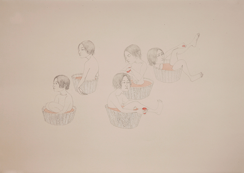 Wash , 2011 Graphite, watercolor, ink on ivory Fabriana Rosaspina 27.5 x 39 inches Photo: Bill Orcutt