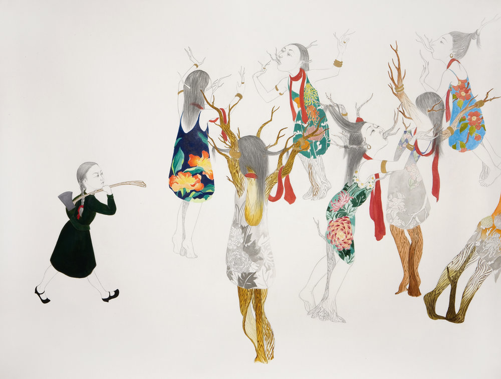 Orchard of Women,  2007 Graphite, watercolor, ink on paper 38 x 50 inches