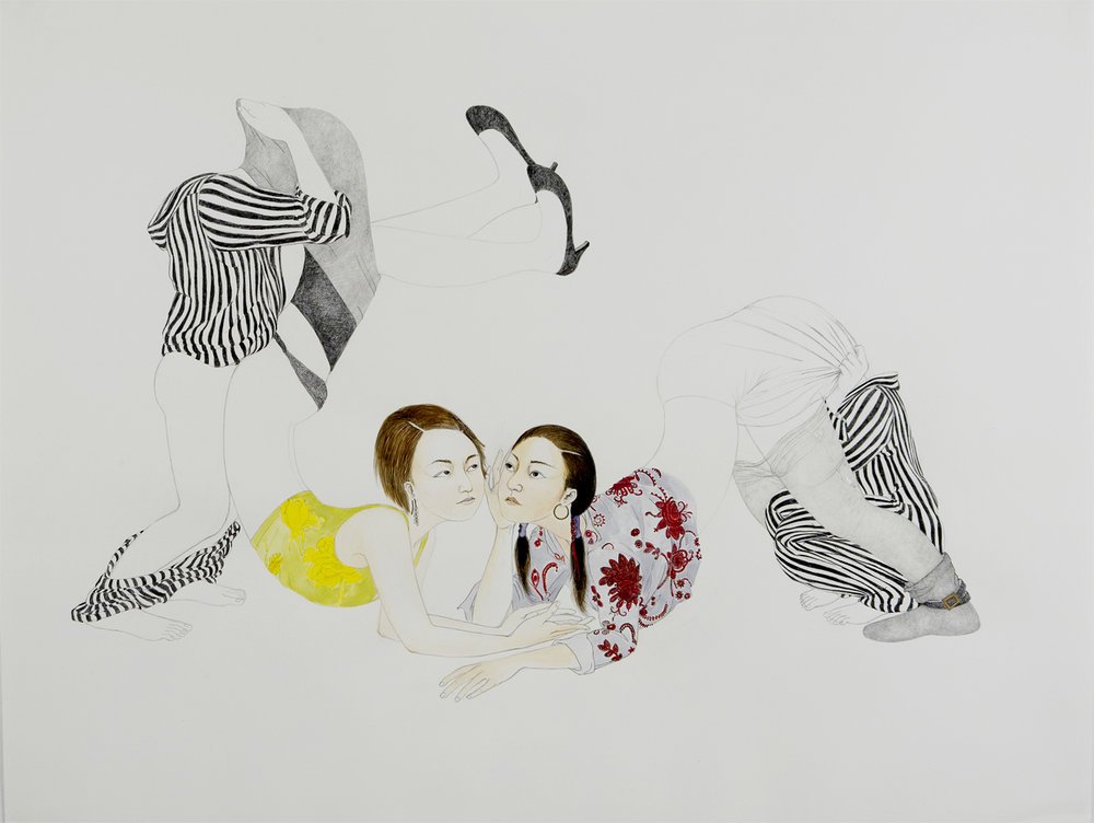 Secret , 2007 Graphite, watercolor, ink on paper 38 X 50 inches Private collection
