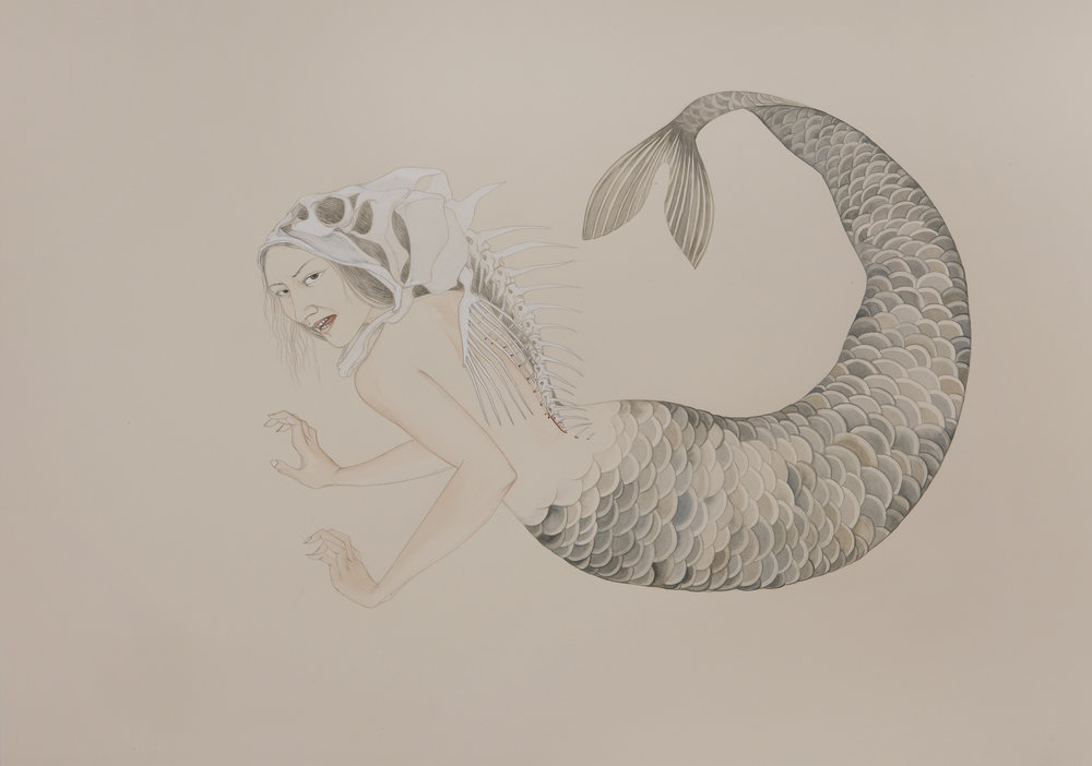 Mermaid , 2009 Graphite, ink, watercolor on cream-colored paper 27.5 x 39 inches Private Collection
