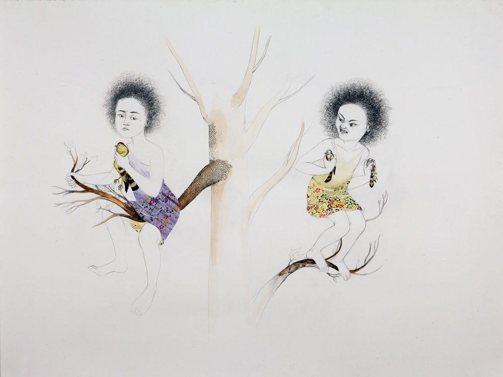 One Hand… Two,  2009 Graphite, ink, watercolor, collage on paper 38 x 50 inches