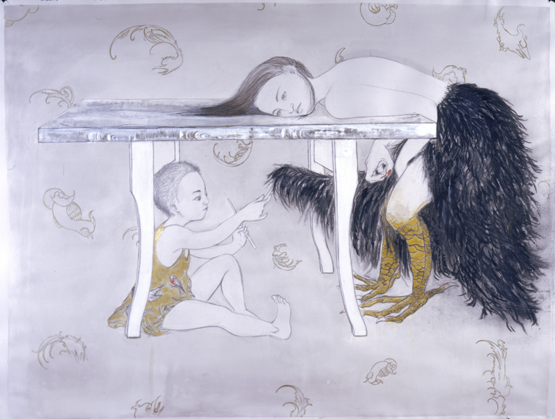 Part Reptile , 2005 Graphite, ink, gouache, oils, wax, charcoal on gray paper 38 X 50 inches Private collection