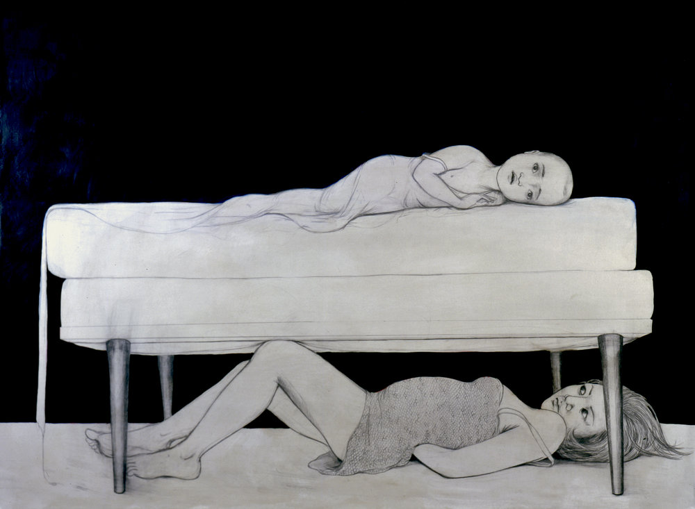 Under The Bed , 2004 Graphite, ink, acrylic on mounted gray paper 36 X 48 inches Private collection
