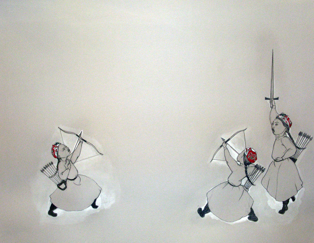 Showdown , 2006 Graphite, watercolor on gray paper 19 X 25 inches Private collection