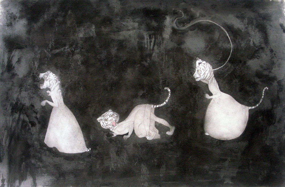 Tiger Girls III , 2006 Graphite, watercolor, glue, powdered charcoal on gray paper 25 X 38 inches Private collection