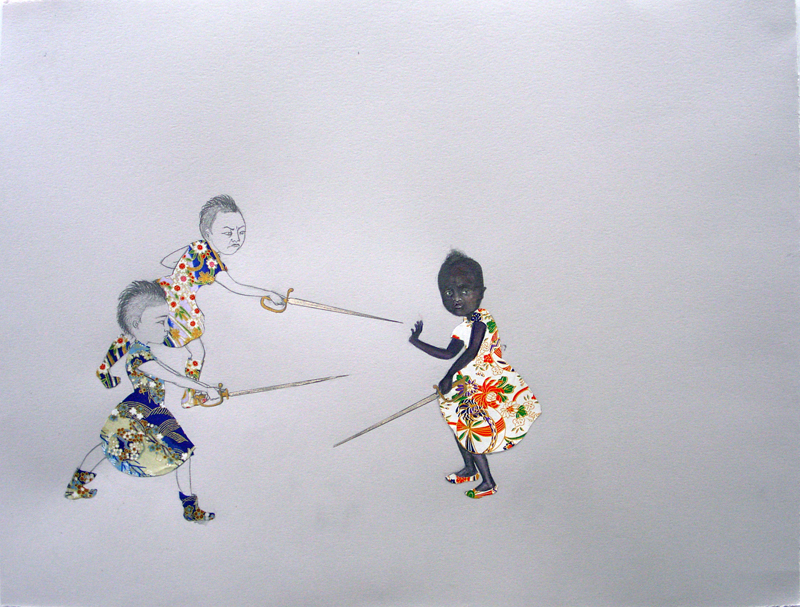 Race War , 2006 Graphite, watercolor, ink, collage on gray paper 19 X 25 inches Private collection