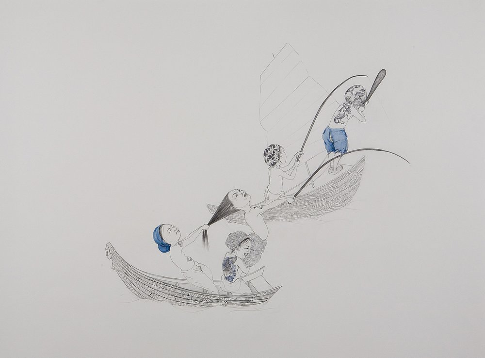 Surface Tension II: Double Team , 2007 Graphite, watercolor on paper 38 X 50 inches