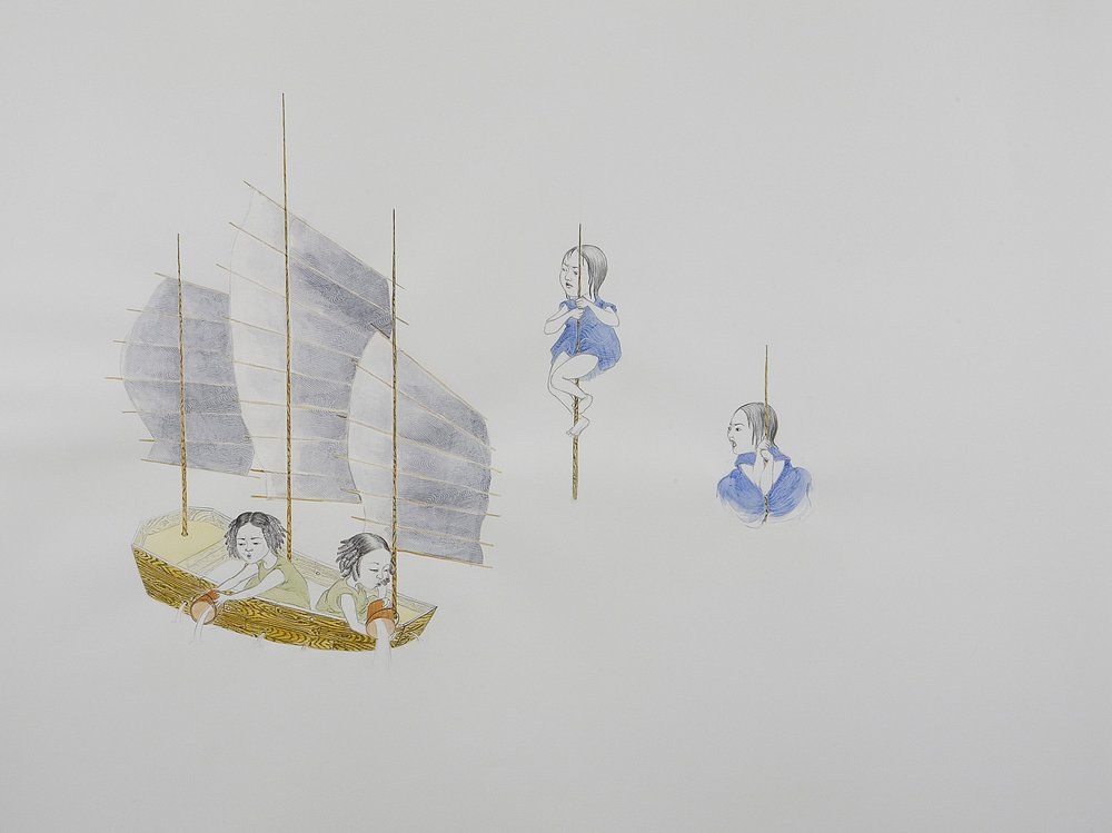 Surface Tension IV: Two Pairs Sinking , 2007 Graphite, watercolor, ink, collage on paper 38 X 50 inches