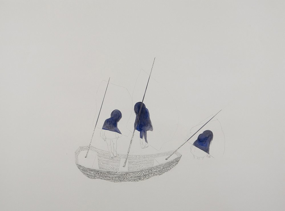 Surface Tension V: Ghost Ship , 2007 Graphite, ink on paper 38 X 50 inches