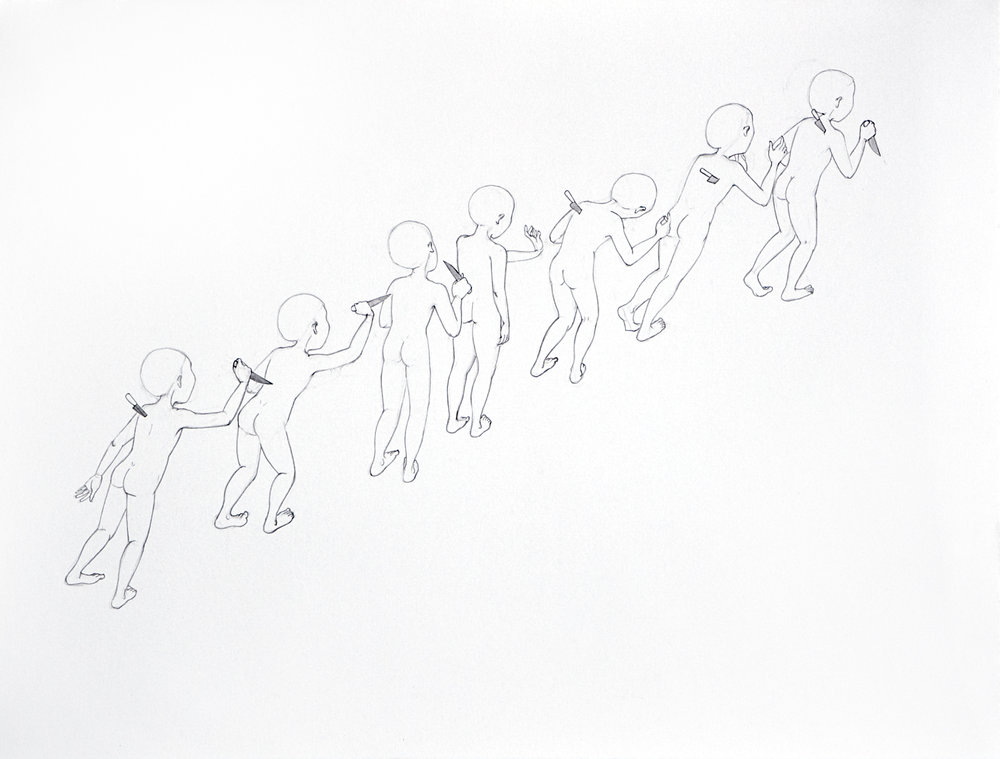 Back Stabbers , 2008 Graphite on paper 18.75 X 24.75 inches Produced during artist residency at Bemis Center for Contemporary Art, Omaha, NE Private collection