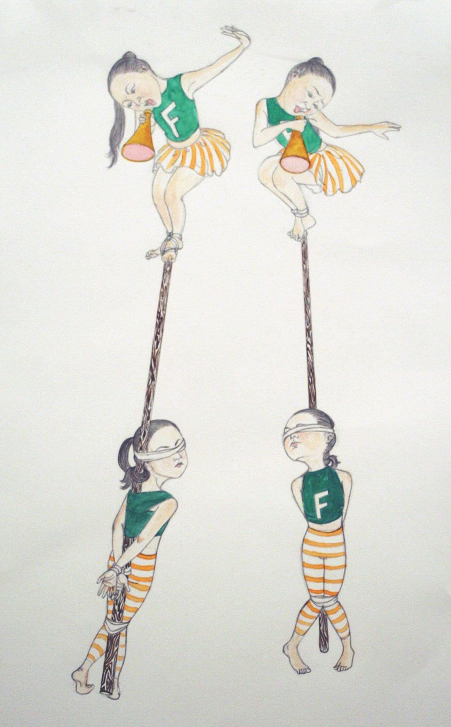 Cheerleading,  2008 Graphite, ink on paper 15 x 11 inches