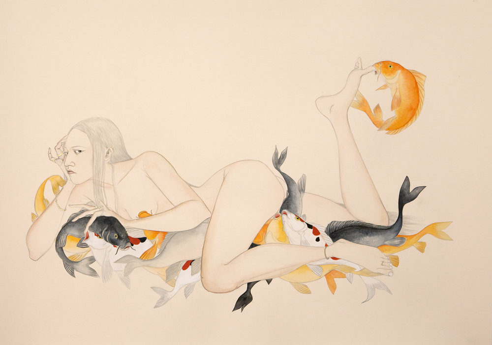 Sea Bed , 2009 Graphite, ink, watercolor on cream-colored paper 27.5 x 39 inches Private collection