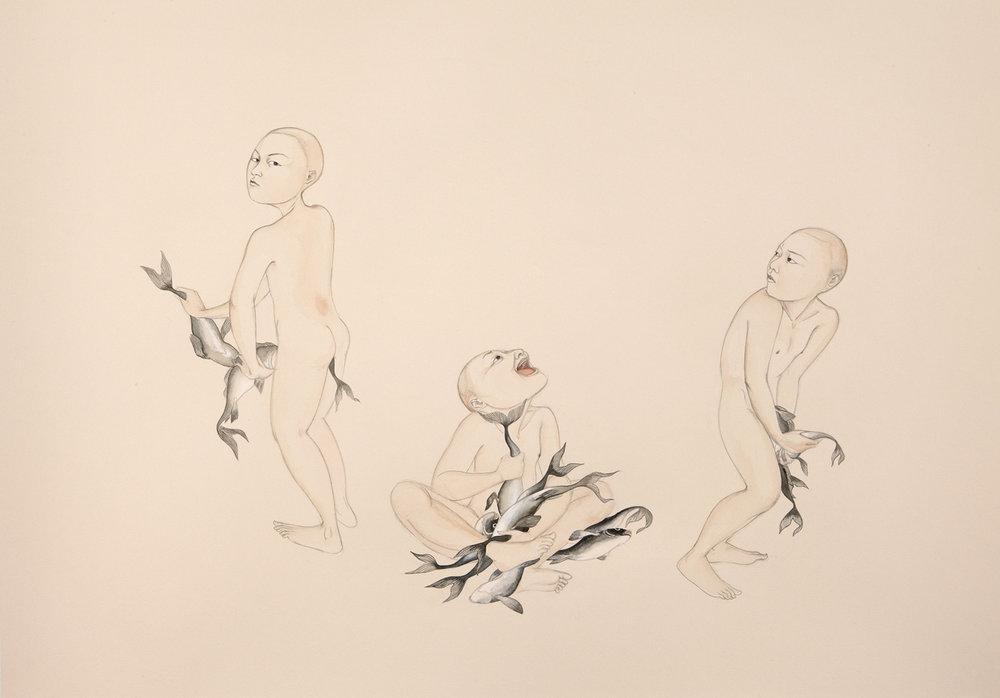 Fish Stick , 2009 Graphite, ink, watercolor on cream-colored paper 27.5 x 39 inches