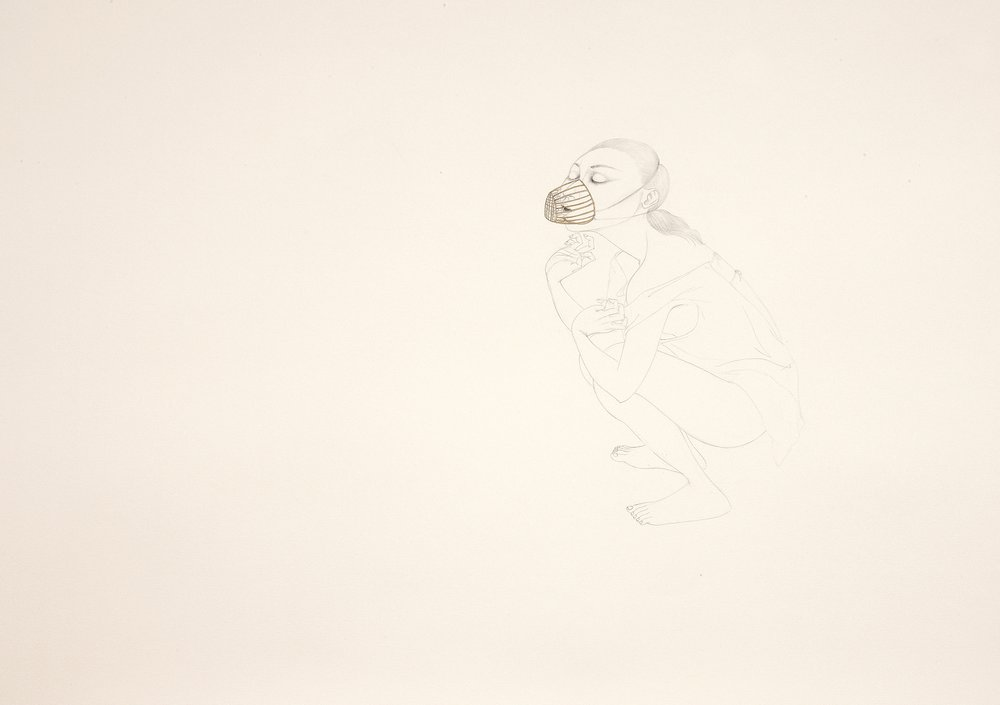 Still Breath , 2011 Graphite, watercolor, metallic color on ivory Fabriana Rossapina 27.5 x 39 inches Photo: Bill Orcutt