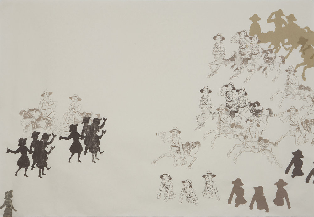 Scouts, Centaurs And Half-Men About To Skirmish , 2011 Five-color unique silk screen print 38.25 X 55.25 inches Produced as artist-in-residence at Women's Studio Workshop, Rosendale, NY Photo: Bill Orcutt