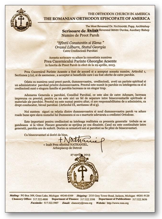 numirea pr. george acsente ca preot paroh - 29 Aprilie 2013