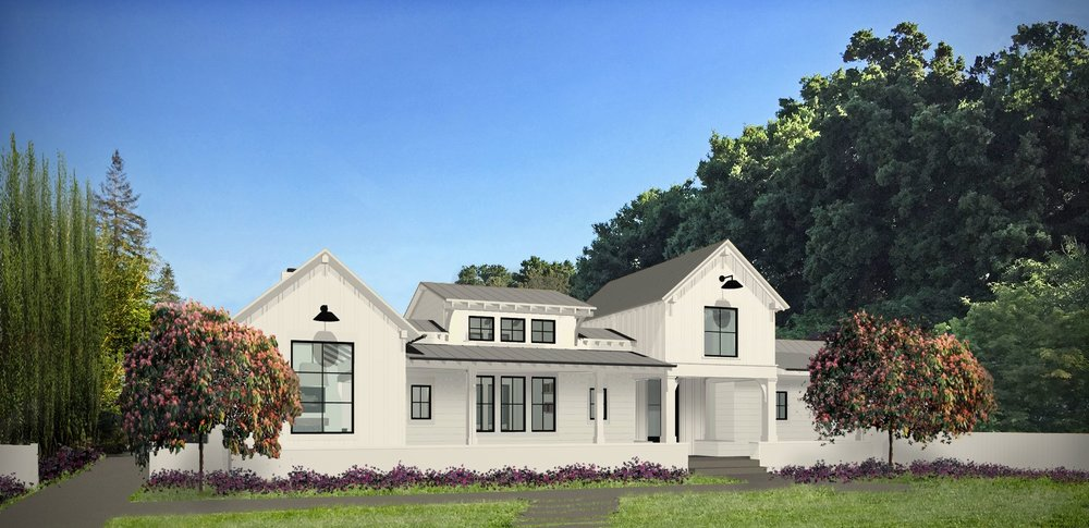 A rendering created for the Los Altos Modern Farmhouse project.