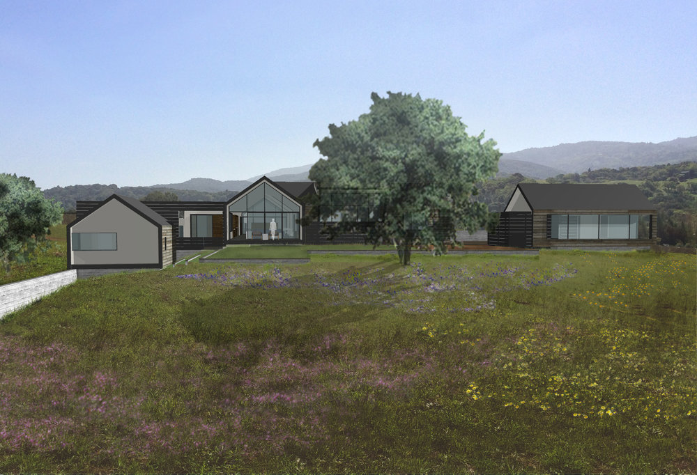 Conceptual rendering of the Portola Valley Modern Barn house