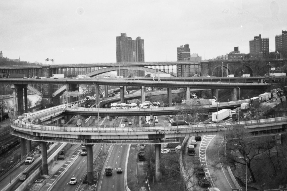 Interchange, looking north from the Bronx side of The High Bridge.  Details :  film, 35mm Ilford Delta 400. Pentax K1000. Fletcher Berryman, 2018.