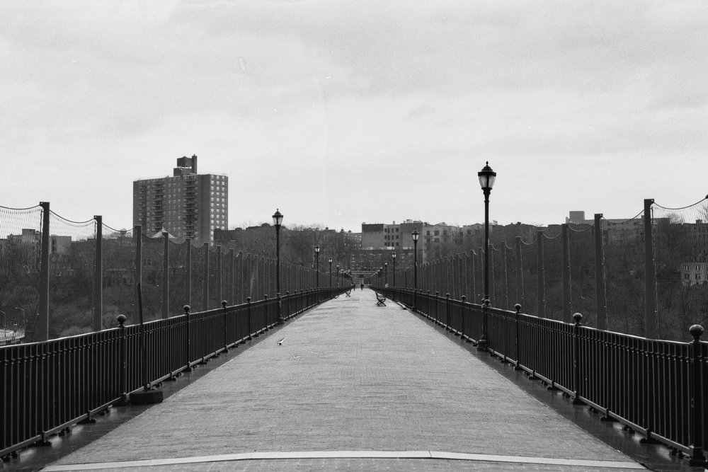 Towards the Bronx side. The High Bridge, New York City.  Details :  film, 35mm Ilford Delta 400. Pentax K1000. Fletcher Berryman, 2018.