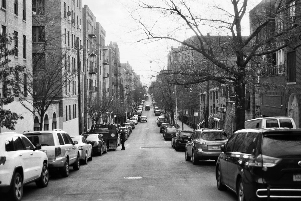 Anderson Ave looking South. Highbridge, The Bronx.  Details :  film, 35mm Ilford Delta 400. Pentax K1000. Fletcher Berryman, 2018.