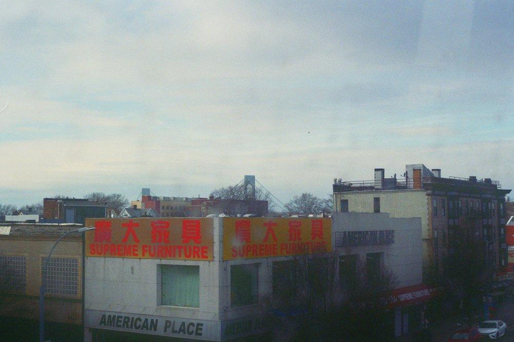 The Verrazzano Bridge looms over South Brooklyn off in the distance. Somewhere along the D train, New York.  Kodak Ultra Max 400. Pentax K1000. Fletcher Berryman 2019.