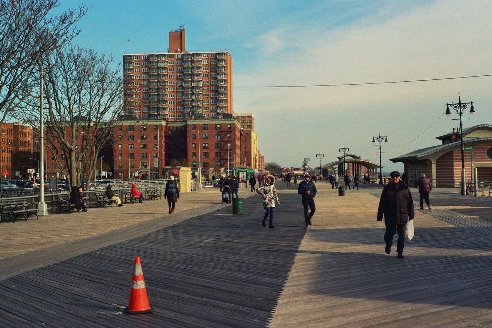 The boardwalk near the unofficial border between Coney Island and Brighton Beach.  Kodak Ultra Max 400. Pentax K1000. Fletcher Berryman 2019.