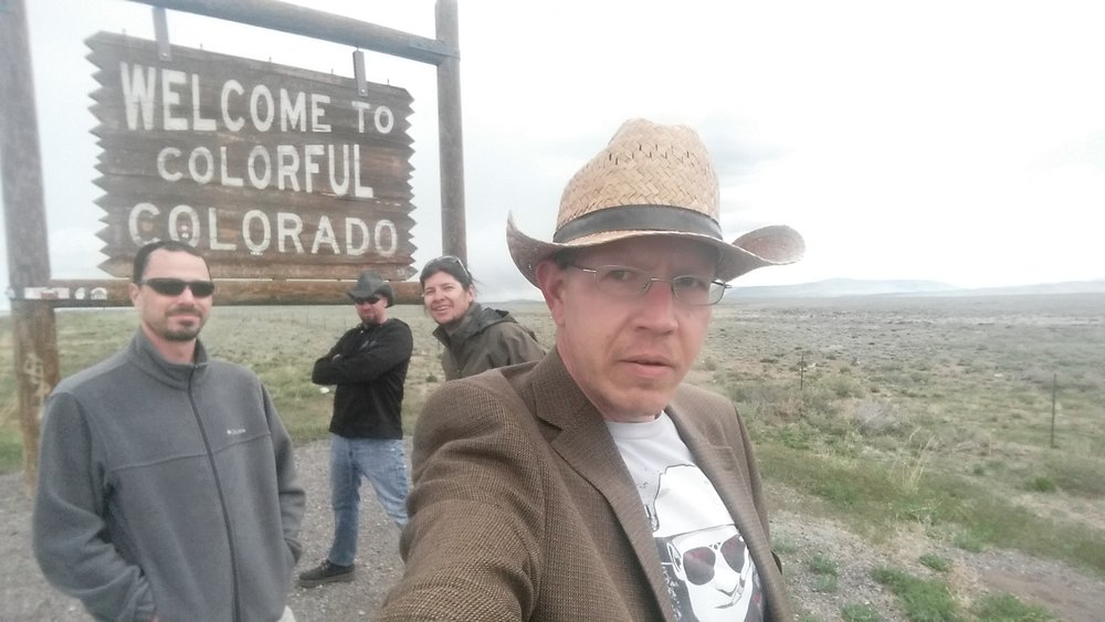(L-R) Jay, John, Lincoln and Damien enter Colorado, in search of Fenn's gold. [Photo: Damien Willis]