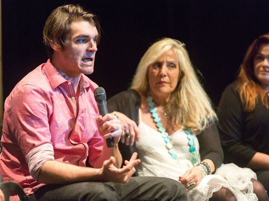 Breaking Bad actor RJ Mitte speaks during a Las Cruces International Film Festival panel on Saturday, March 10, 2018 at the Rio Grande Theatre.  (Photo: Robin Zielinski / Las Cruces Sun-News)