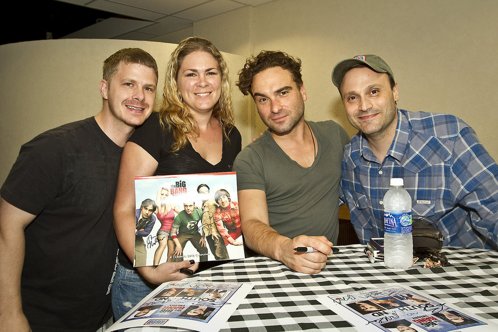 """Actor Johnny Galecki (center) and producer Steven Molaro (far right) from """"The Big Bang Theory"""" pose for a photo with U. S. Navy Sonar Tecnician 1st Class Jerrod Hale from Beaumont, CA and his wife Sherry Hale, White Beach Naval Base, Okinawa, Japan, May 5, 2012.  [USO photo by Michael Clifton, via    Flickr   ]"""
