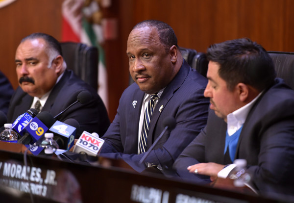 Inglewood Mayor James Butts, center, denies making an offensive comment to city activist Diane Sambrano at the close of a recent City Council meeting. And now video evidence of that comment has been deleted.  [File photo by Robert Casillas, Daily Breeze/SCNG]