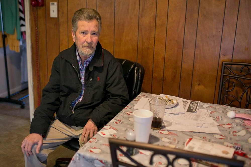 Leslie McCrae Dowless sits in his kitchen in Bladenboro, N.C.  [Justin Kase Conder/For The Washington Post]