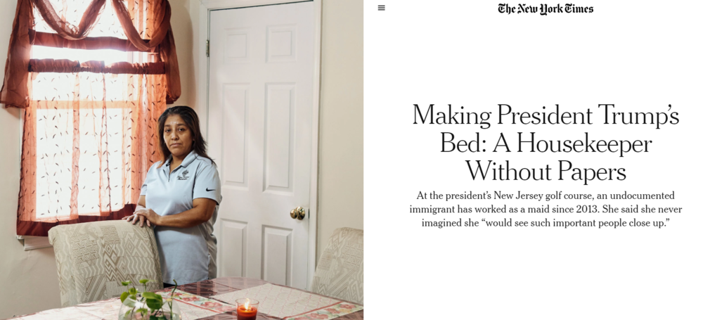 Victorina Morales at her home in Bound Brook, N.J. She left Guatemala in 1999 and illegally entered the United States. She started working at the Trump National Golf Club in Bedminster, N.J., in 2013.  [Photo: Christopher Gregory for The New York Times]
