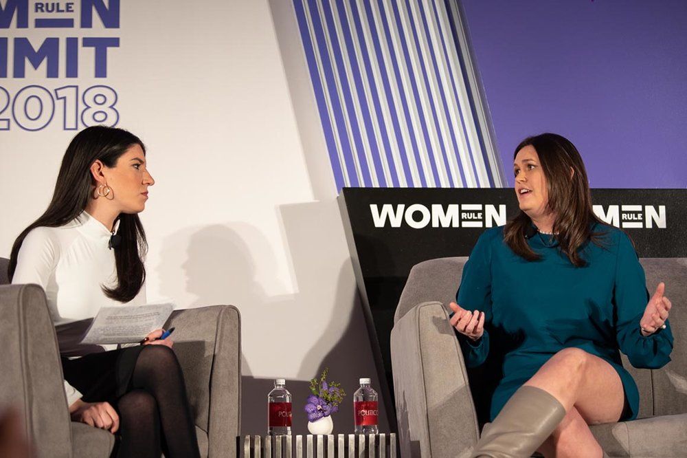 """The president's had an equal number of contentious conversations with your male colleagues,"" Sarah Huckabee Sanders told POLITICO's Eliana Johnson at the Women Rule Summit.  [Photo: Emily Clack for Politico]"
