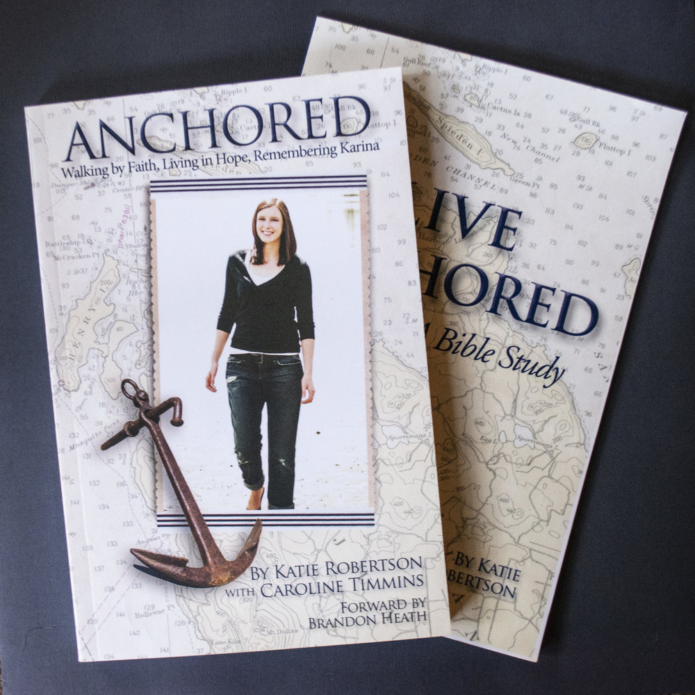 "Anchored and Live Anchored: A Bible Study - Katie Robertson  - Life is full of ""stormy weather"" of varying degrees. Katie Robertson has experienced the exhilaration of clear skies and smooth sailing, and the anxiety and terror of high winds and stormy seas—particularly through the loss of her 19-year-old daughter, Karina, to cancer. Through it all, she has learned how to set an anchor firmly in her heart that has kept her from being swept away, emotionally and spiritually.Katie's first book, Anchored, is the story of Karina's remarkable life of faith, and her battle with cancer. In her second book, a five-session Bible study, Katie shows how anyone can navigate the storms of life: set an anchor firmly in your heart—Jesus Christ—and begin to live and believe on the truths of God's Word. NEW - March 2019! Katie's second Bible study, Jesus, Our Anchor, is now out and available on Amazon.com! Both books serve as a stand-alone studies or an accompaniment to Katie's first book, Anchored: Walking by Faith, Living in Hope, Remembering Karina."