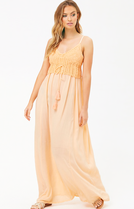 3. Boho Crochet Maxi Dress - The color, the design, everything about this dress screams summer to me. Ps. how cute would this dress look with a bump!?Shop it here.
