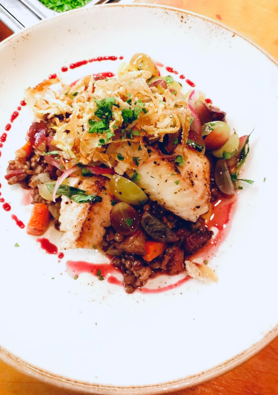 Seared Black Cod, red grape salsa, French lentils,  fried leeks and a Zinfandel reduction.     Jerry Wetle (F/V Pacific Bully)    Monterey