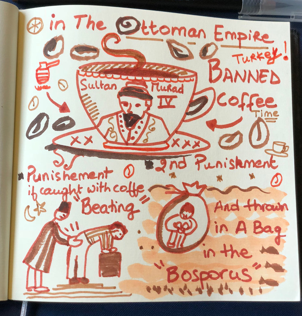Ottoman coffee - After Murad IV claimed the Ottoman throne in 1623, he quickly forbade coffee and set up a system of reasonable penalties. The punishment for a first offense was a beating. Anyone caught with coffee a second time was sewn into a leather bag and thrown into the waters of the Bosporus.