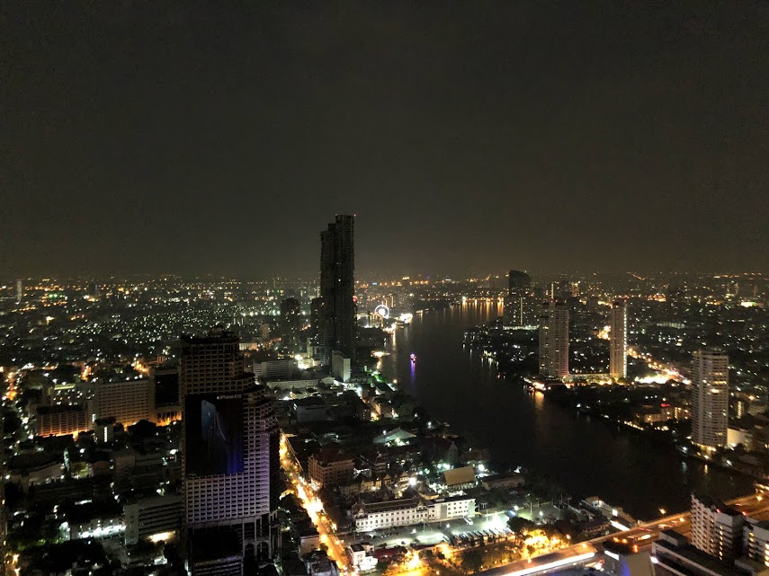 Stunning view of Bangkok from Sky Bar on the 64th floor of the Lebua Hotel.
