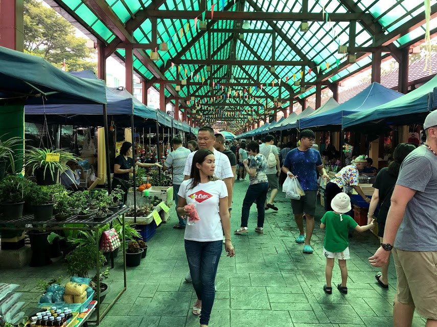 The entry way at Taling Chan market in Bangkok.