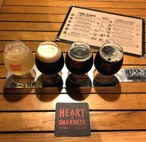 My four beer flight at Heart of Darkness brewery.