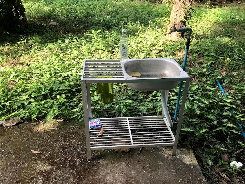 The outdoor kitchen sink (not very glamorous).