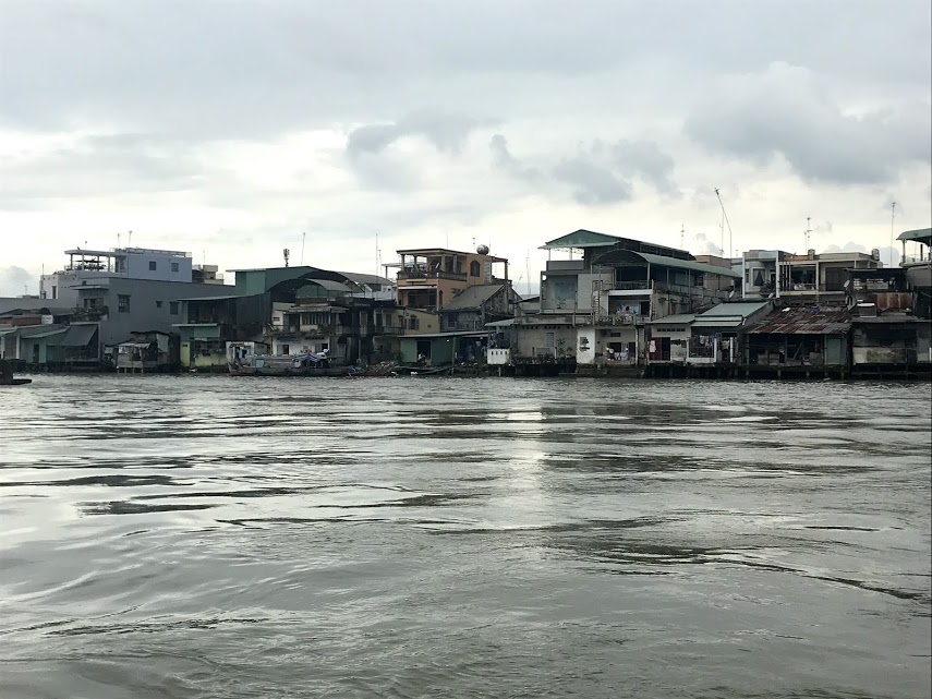 Floating houses that line the Mekong River in Vietnam.