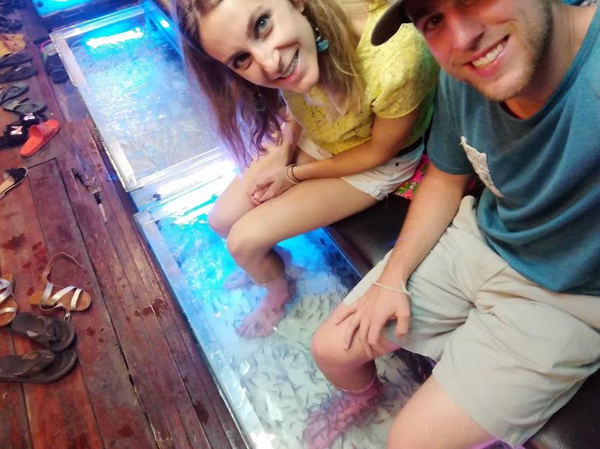 Enjoying the nibbles from the garra rufa fish!