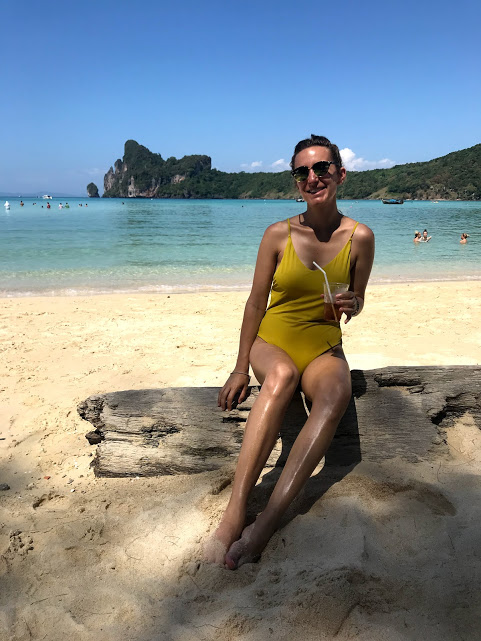 Enjoying a cold drink on Ko Phi Phi Don beach - the most beautiful beach I've ever seen!