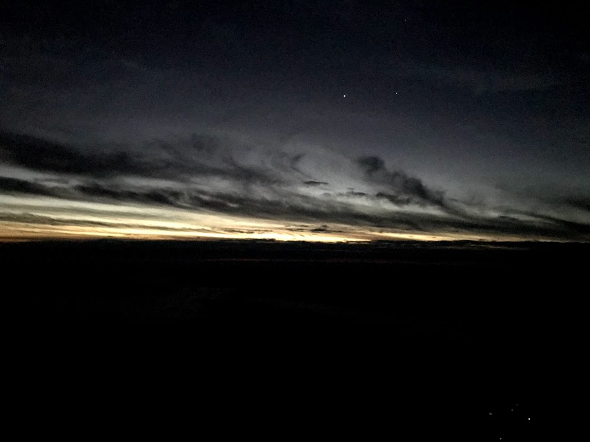 6:10 AM - The first few streaks of light created a periwinkle twilight.