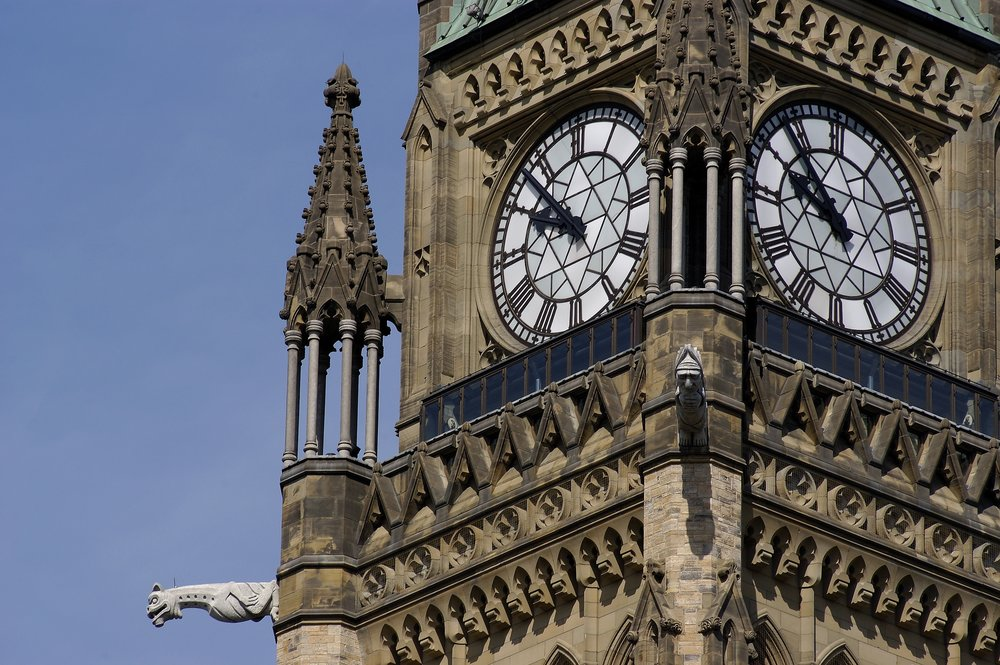 The clockface of the Peace Tower, Ottawa.