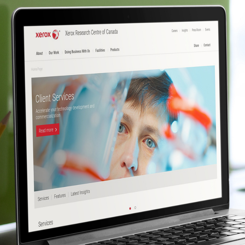 A screenshot of the new Xerox Research Centre of Canada responsive corporate website.
